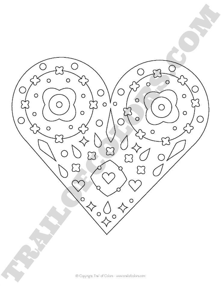 Free Printable Heart Coloring Page for Kids and Adults