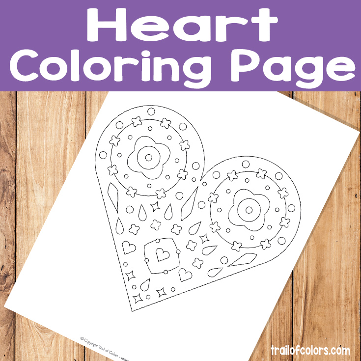 Funky Heart Coloring Page for Kids and Grown Ups