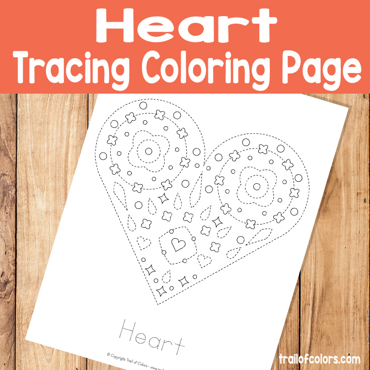 Heart Tracing Coloring Page for Kids