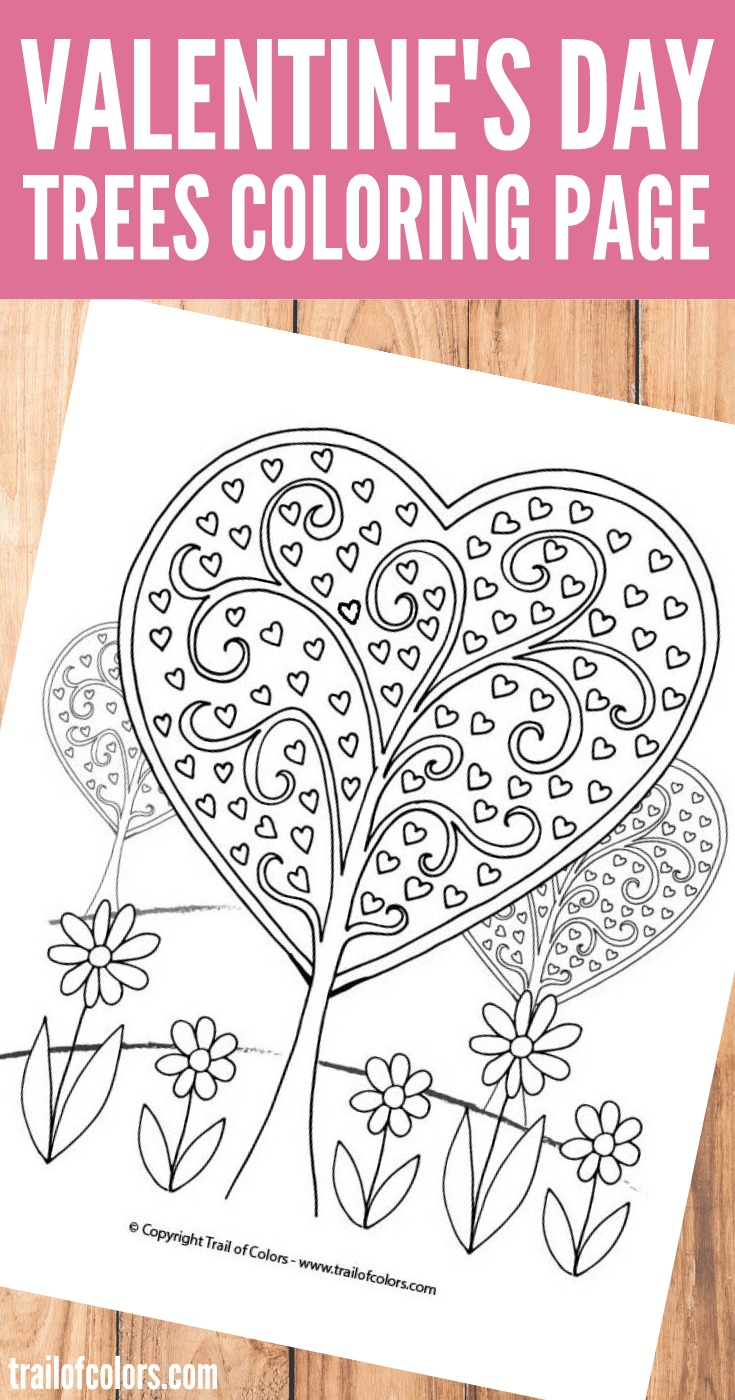 Coloring pages for adults valentines day - Heart Trees Valentines Day Coloring Page
