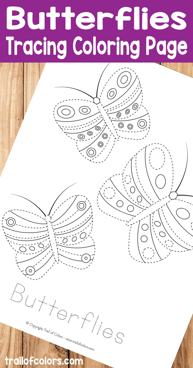 Bee and butterfly coloring pages -  Free Printable Butterflies Tracing Coloring Page