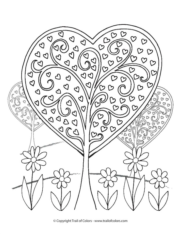 Heart Trees Valentines Day Coloring Page
