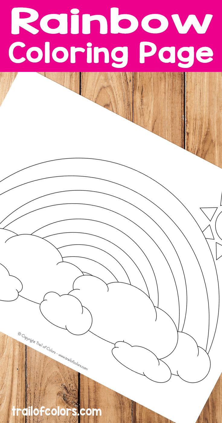 Rainbow coloring page for kids trail of colors for Coloring page rainbow