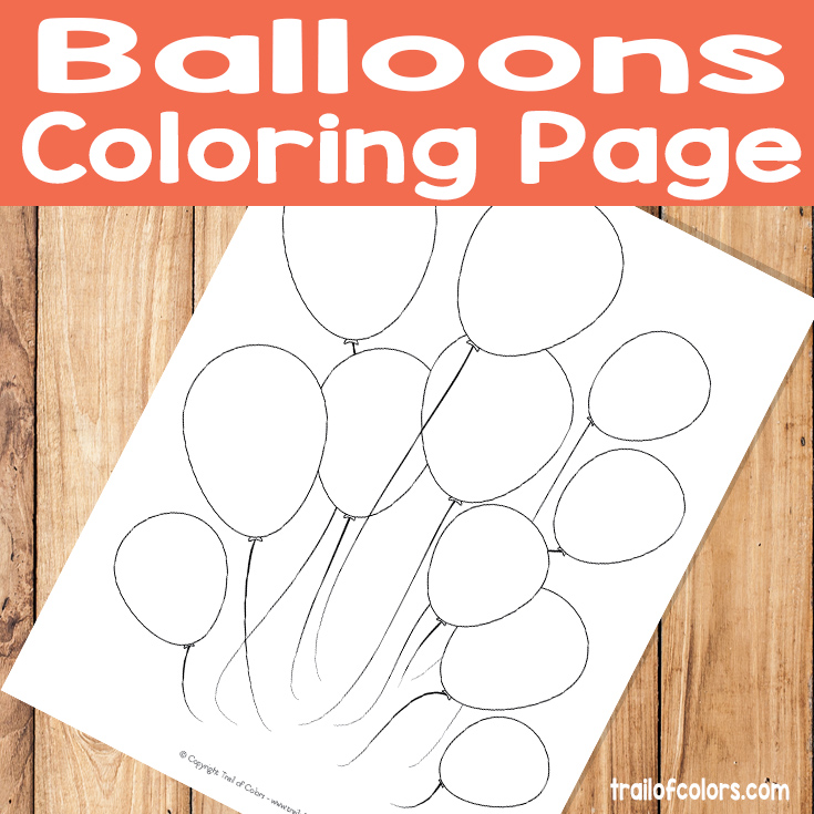 Balloons Coloring Page for Kids - Free Printable