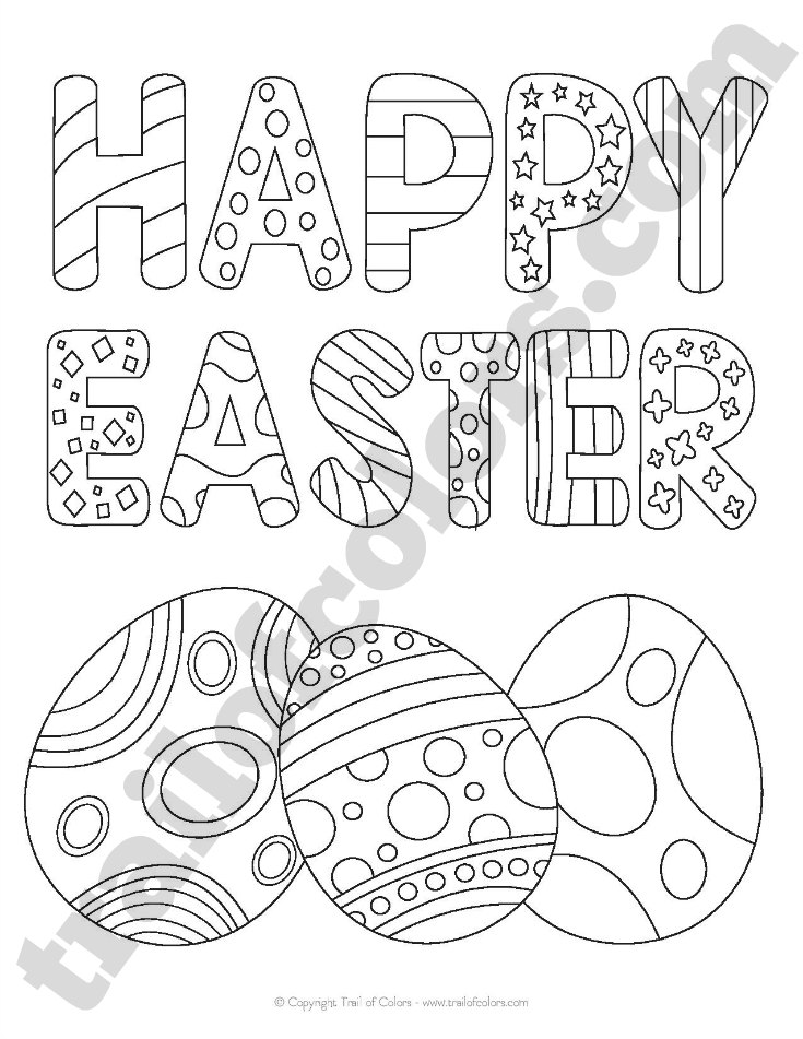 happy easter coloring page for kids - Free Easter Coloring Pages