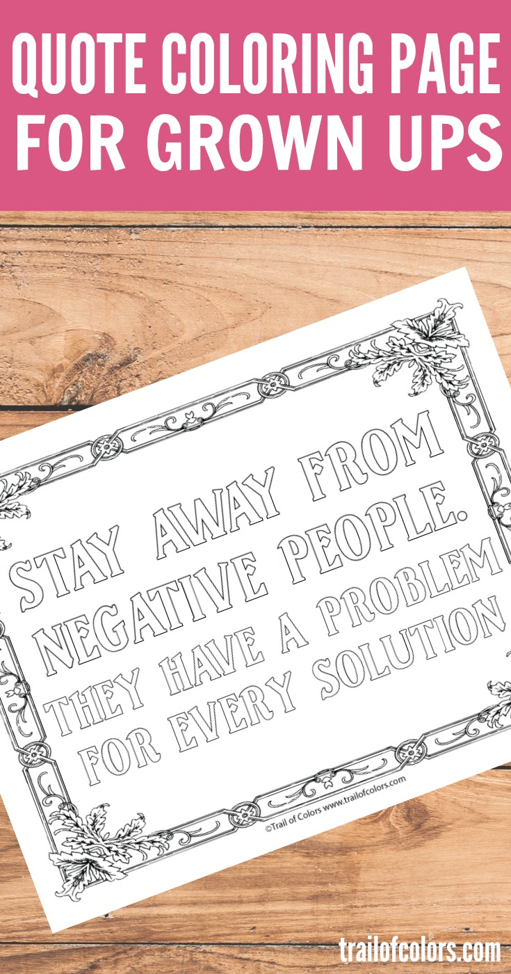 Free Printable Quote Coloring Page for Grown Ups