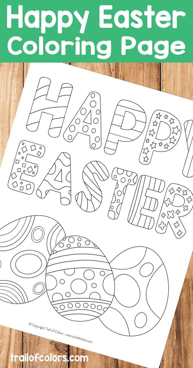 happy easter coloring page for kids trail of colors