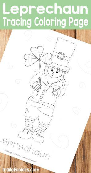 Free Printable Leprechaun Tracing Coloring Page