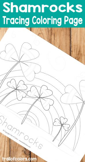 Shamrocks Tracing Coloring Page for Kids