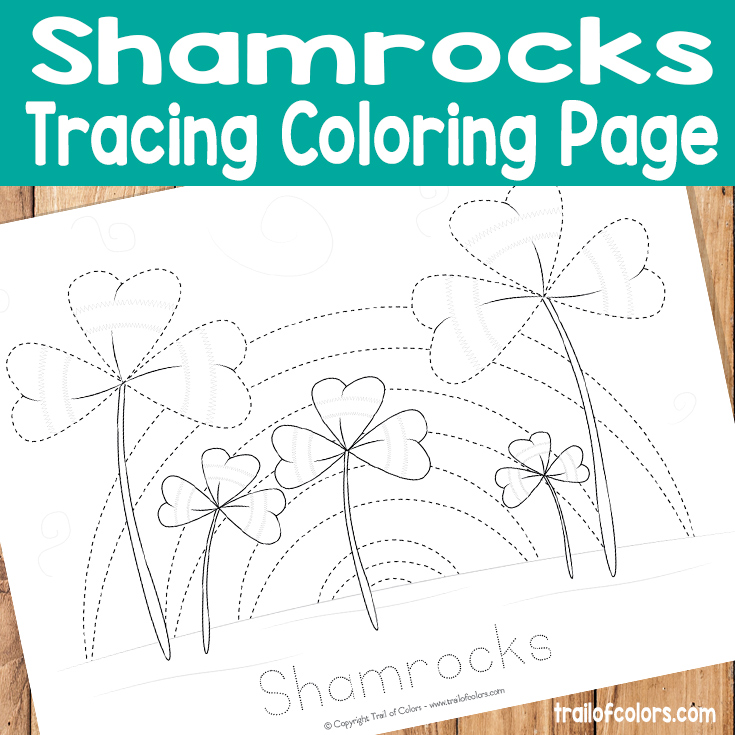 Free Printable Shamrocks Tracing Coloring Page