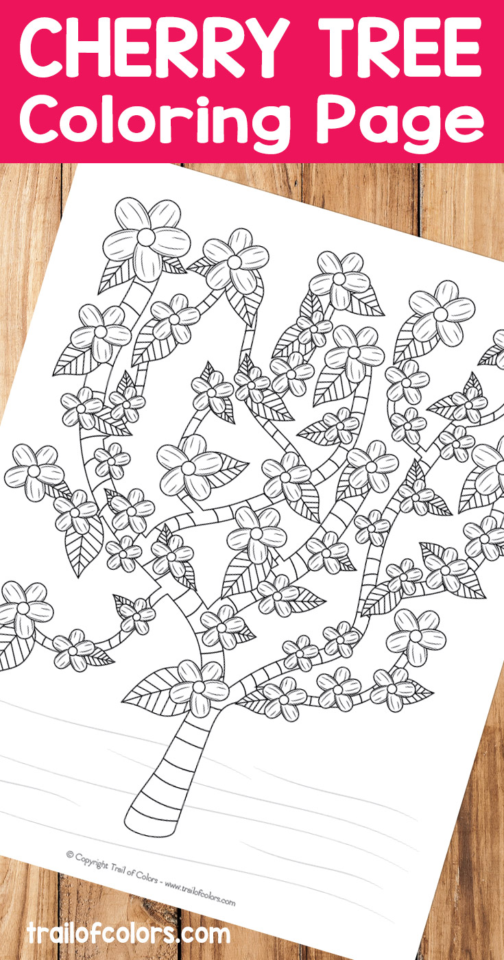Free Printable Cherry Tree Coloring Page Trail Of Colors Free Tree Coloring Image