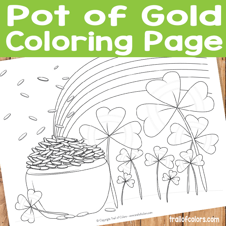 Pot of Gold Coloring Page for Kids