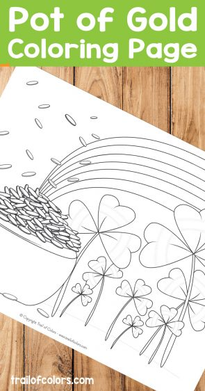 Free Printable Pot of Gold Coloring Page for Kids