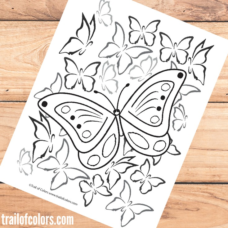 Free Printable Butterfly Coloring Page for Grown Ups