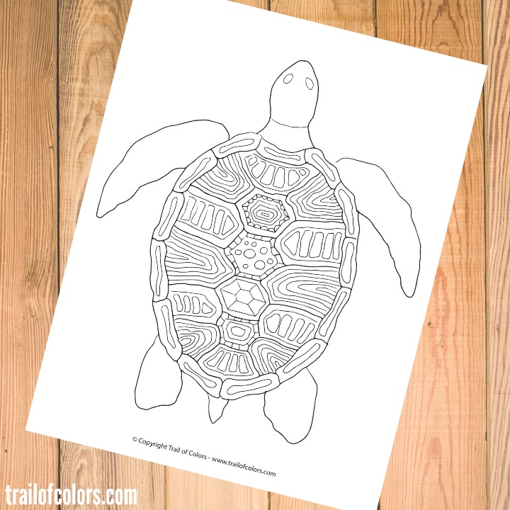 Free Turtle Coloring Page for Grown Ups