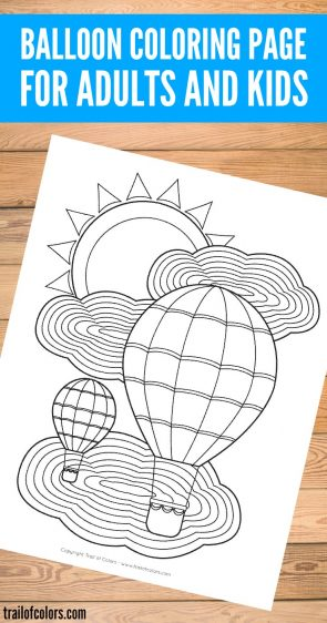Balloon coloring page for adults and kids.