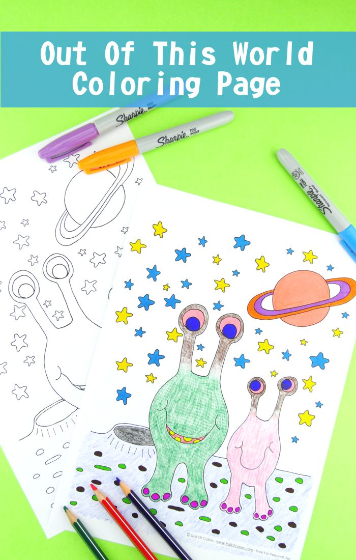 Alien Coloring Page for Kids - out of this world coloring adventure for kids!