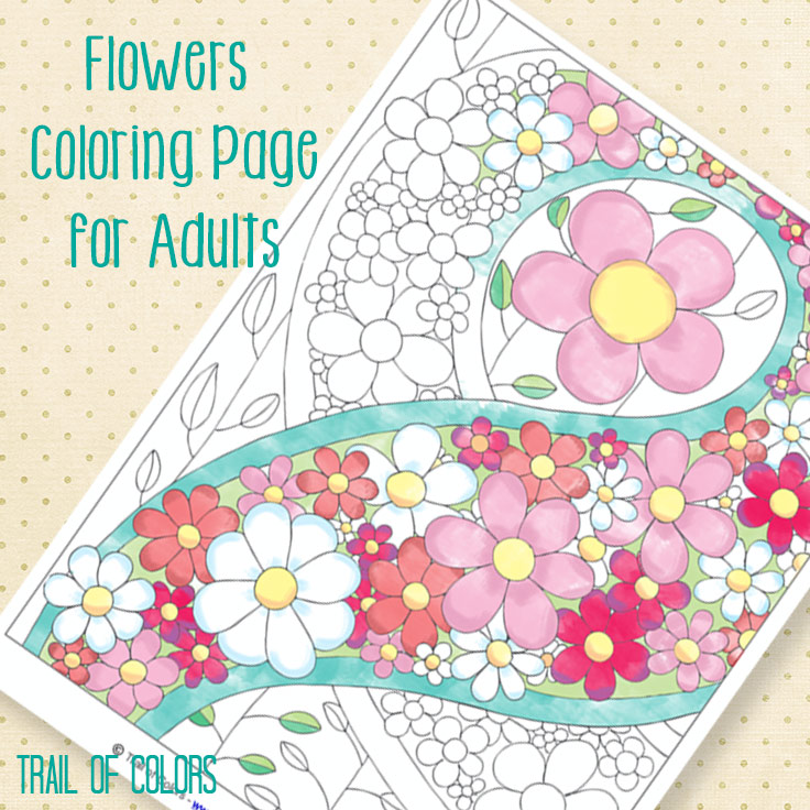 Flowers Coloring Page For Adults Free