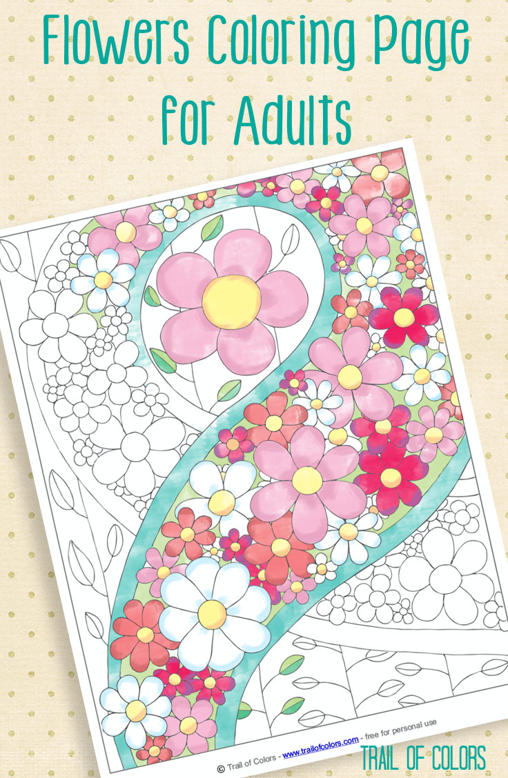 Free Flowers Coloring Page - Trail Of Colors