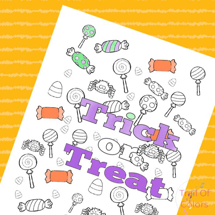 Halloween Trick Or Treat Coloring Page Trail Of Colors
