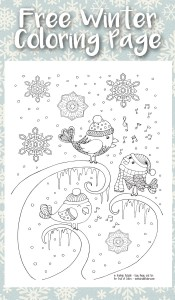 Coloring page - Birds in a feeder | 300x175