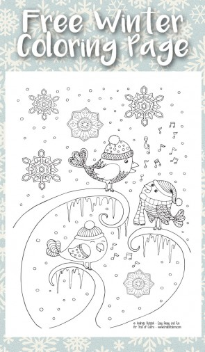 Free Printable Singing Birds Winter Coloring Page for Adults