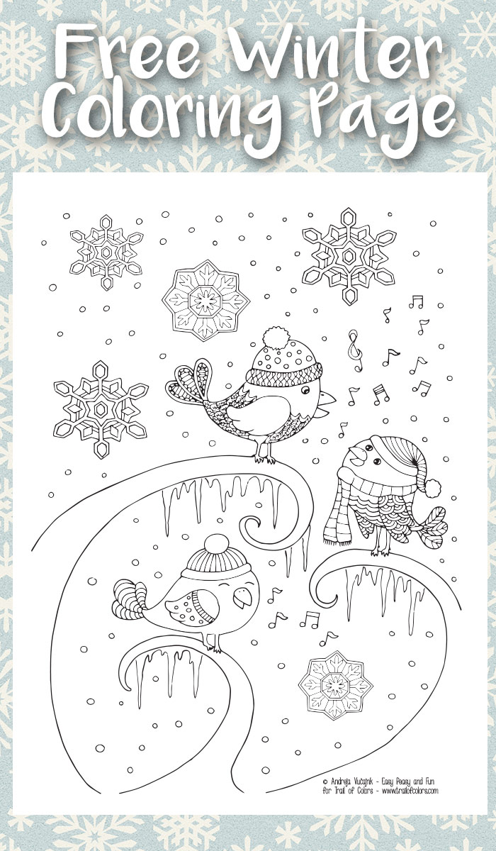 Singing Birds Winter Coloring Page for Adults - Trail Of Colors