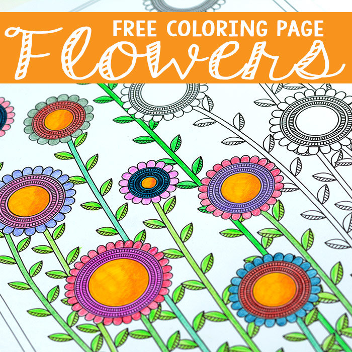 Flower Coloring Page for Adults