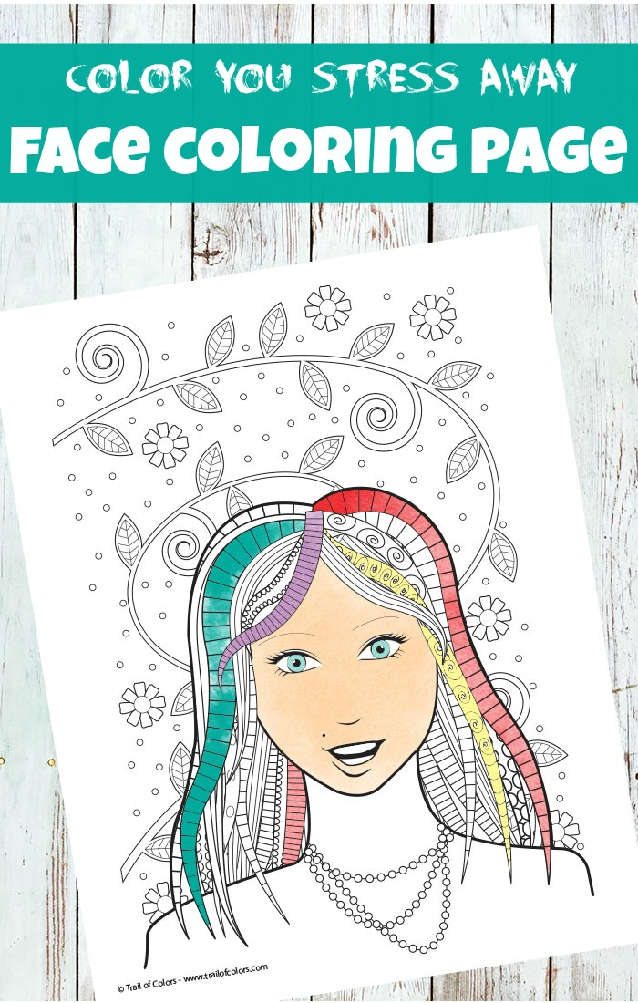 Face Coloring Page For Adults - Trail Of Colors