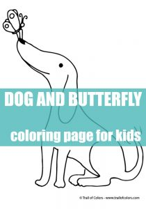 Dog and a Butterfly Coloring Page for Kids