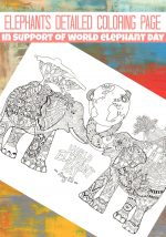 Detailed Elephants Coloring Page