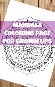 Mandala Coloring Page for Grown Ups