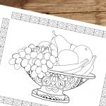 A Bowl of Fruit Coloring Page
