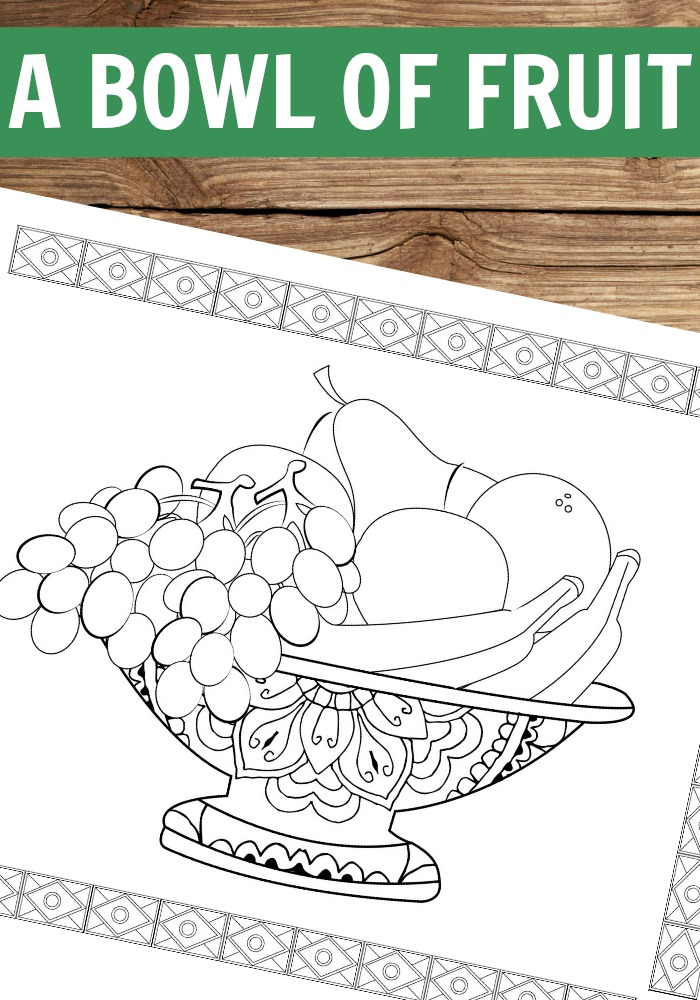 A Bowl of Fruit Coloring Page for Grown Ups