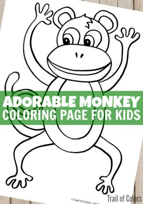 Adorable Monkey Coloring Page for Kids
