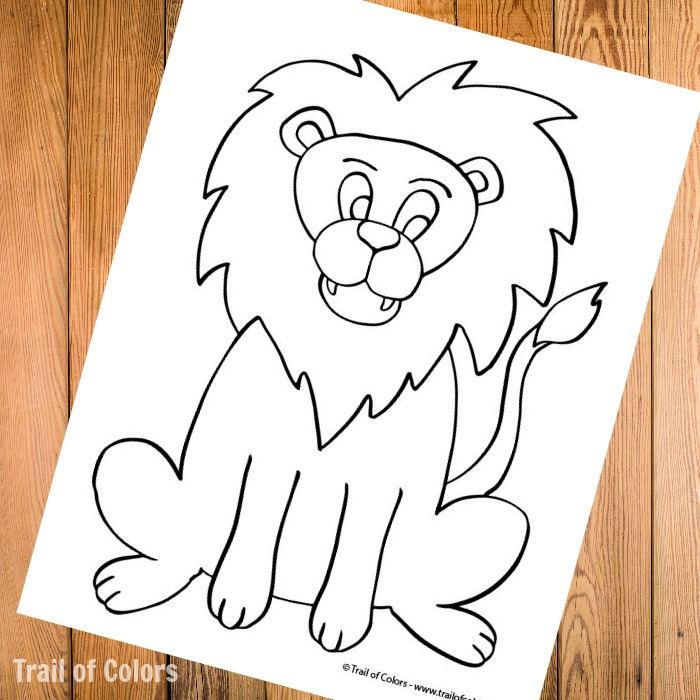 Lion Coloring Page for Kids