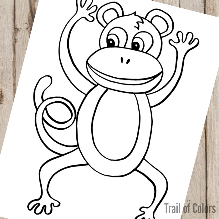 Monkey Coloring Page for Little Ones