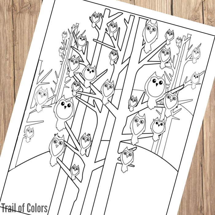 Cute Owls Coloring Page
