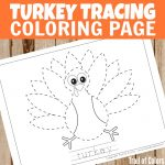 Cute Turkey Tracing Coloring Page for Kids