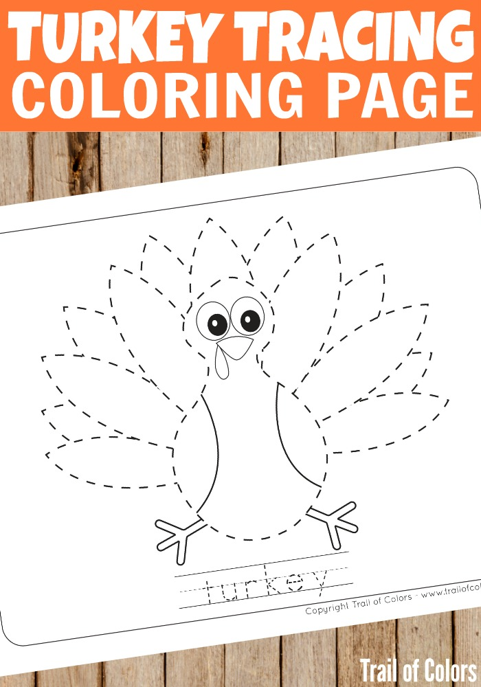 Free Printable Turkey Tracing Coloring Page For Kids