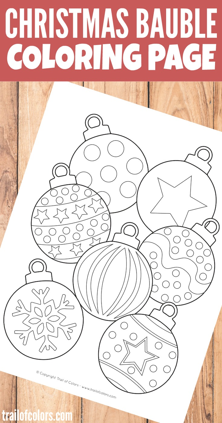 Christmas Bauble Coloring Page for Kids