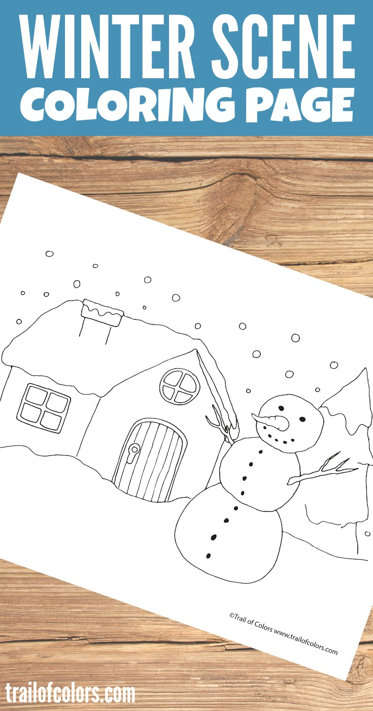 Free Printable Winter Scene Coloring Page for Kids