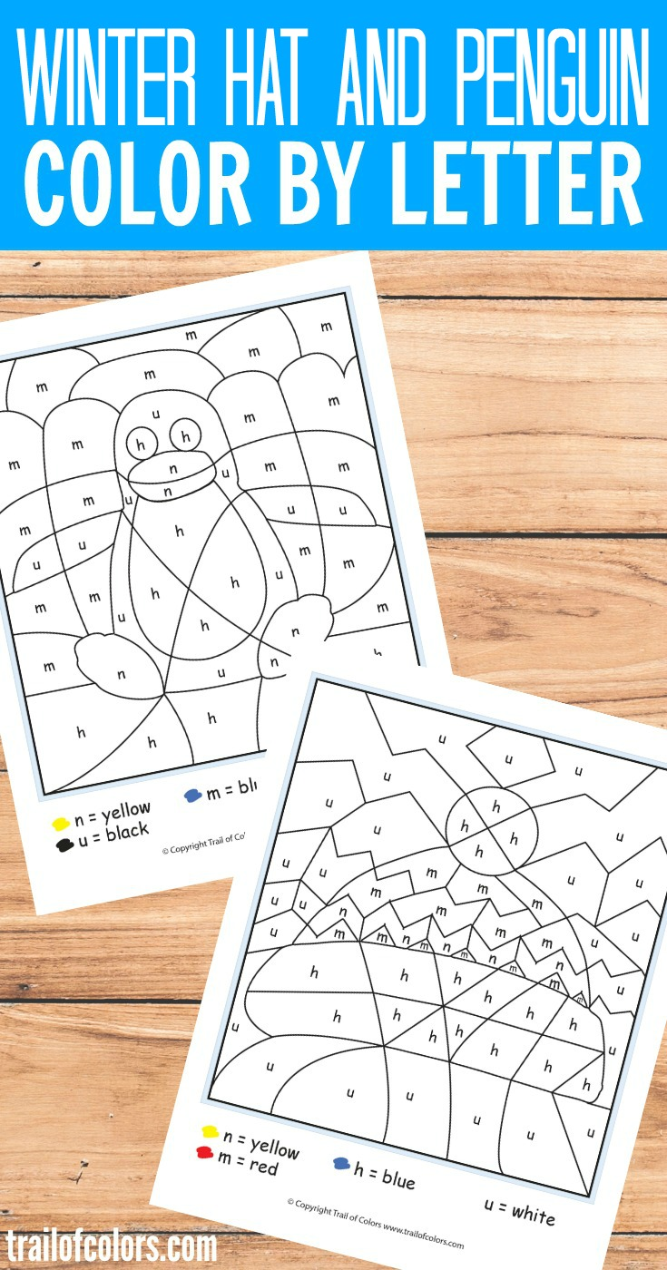 Grab these Free Printable Winter Hat and Penguin Color by Letter for Kids