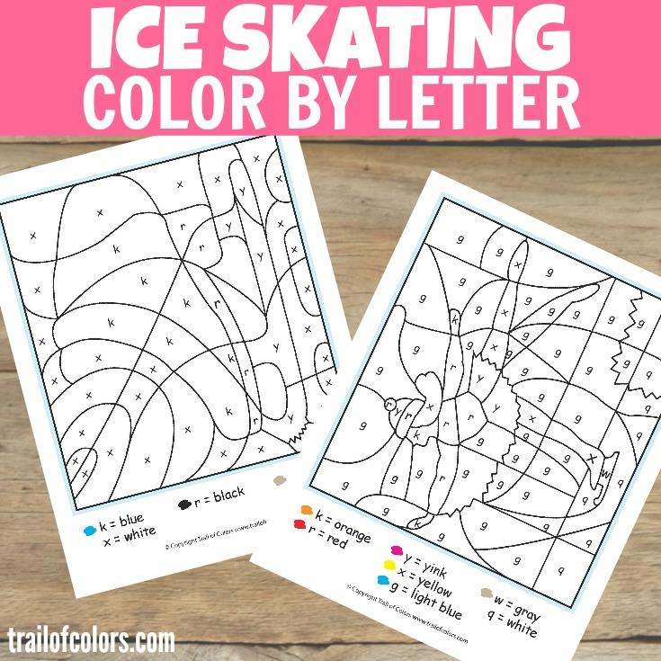 Ice Skating Color by Letter for Kids