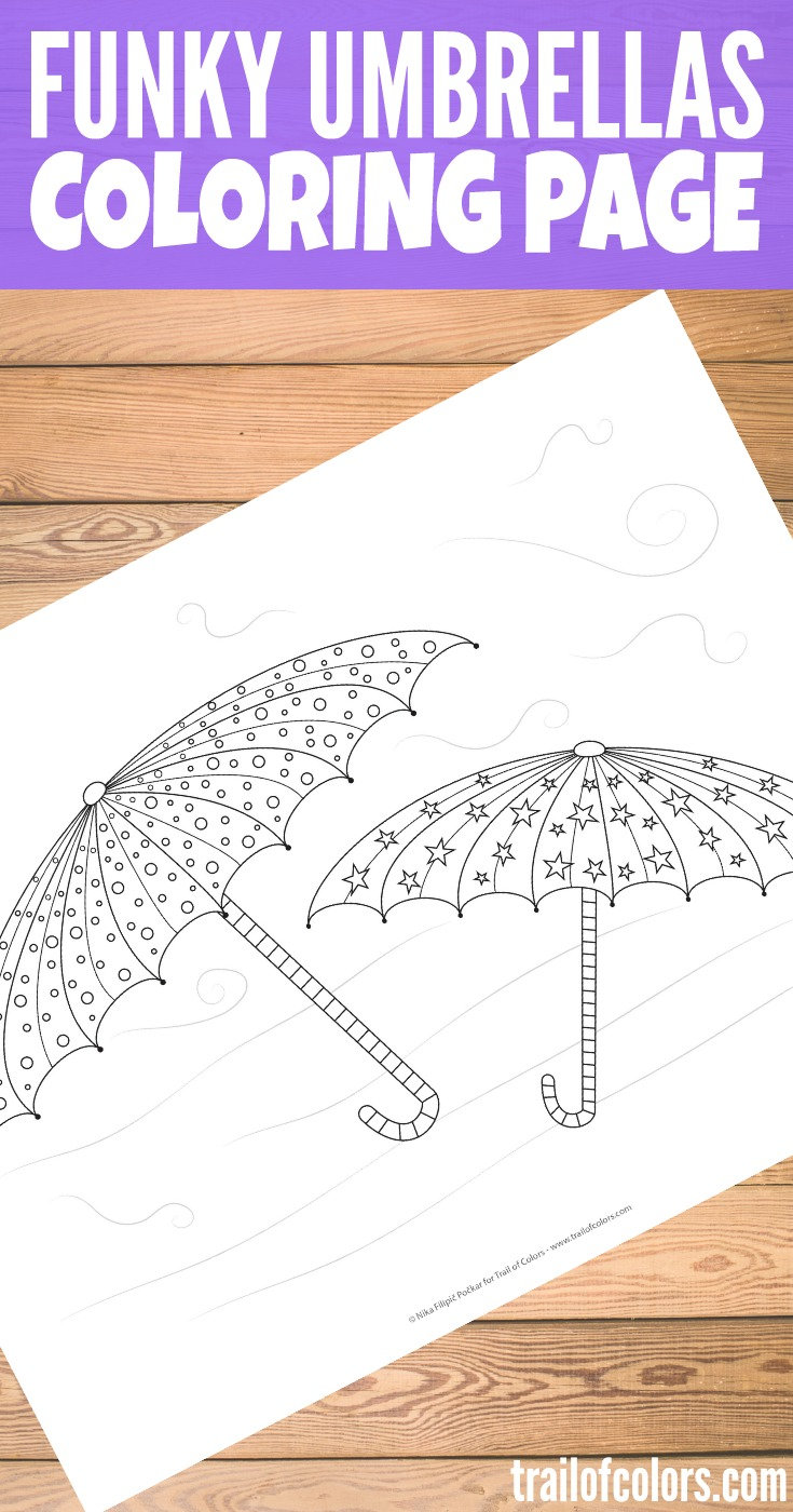 Print This Two Funky Umbrellas Coloring Page for Kids
