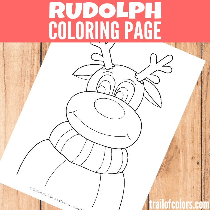 Rudolph the Reindeer Coloring Page for Kids