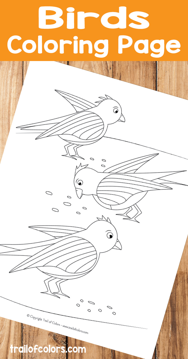 Birds Coloring Page for Kids - Trail Of Colors