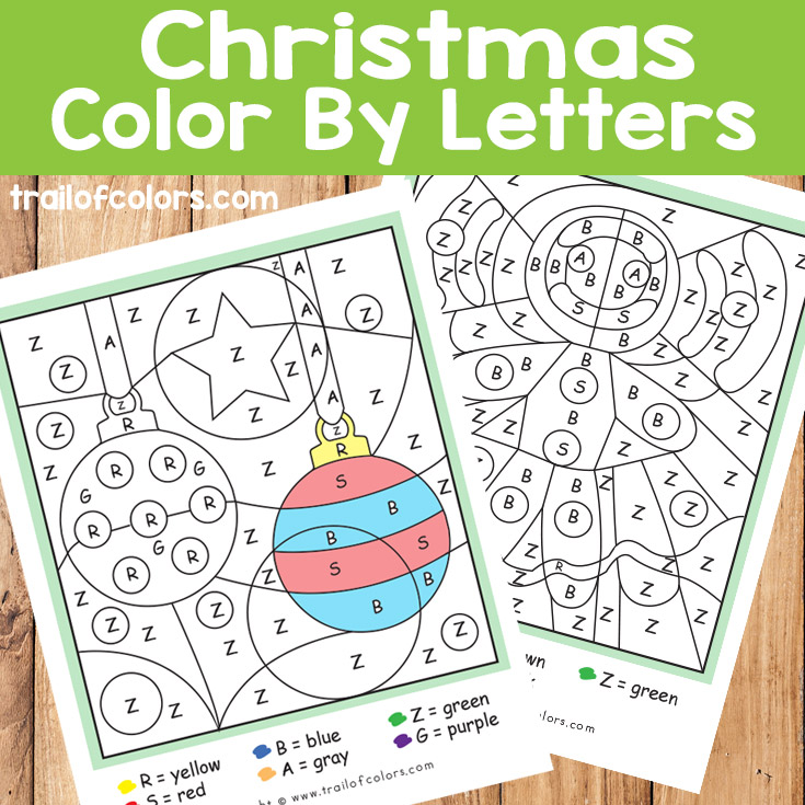 Christmas Color by Letters Ornaments