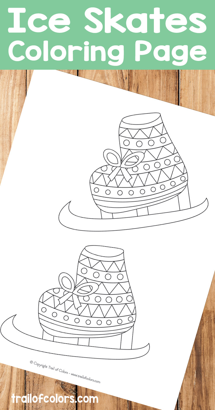 Free Ice Skates Coloring Page for Kids