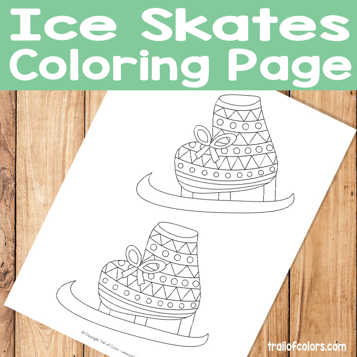 Ice Skates Coloring Page for Kids